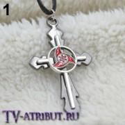 """Кулон-крест с символами из аниме """"Наруто"""" (3 варианта)"""