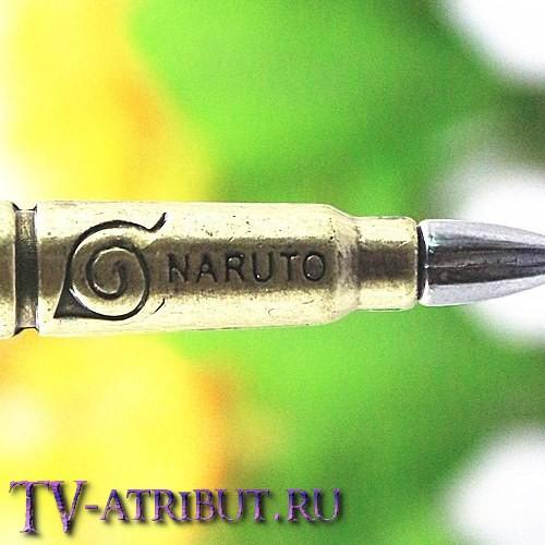 Кулон в виде пули с надписью Naruto и знаком Конохи