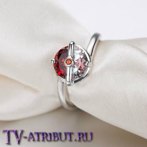 "Кольцо ""Покебол"", серебро S925 и цирконы"
