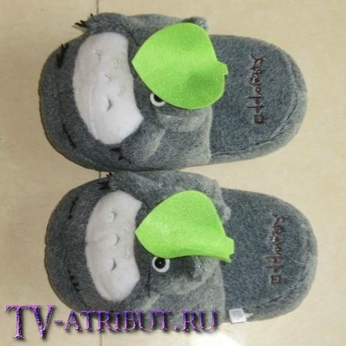 Тапочки в виде Тоторо с листиком на голове