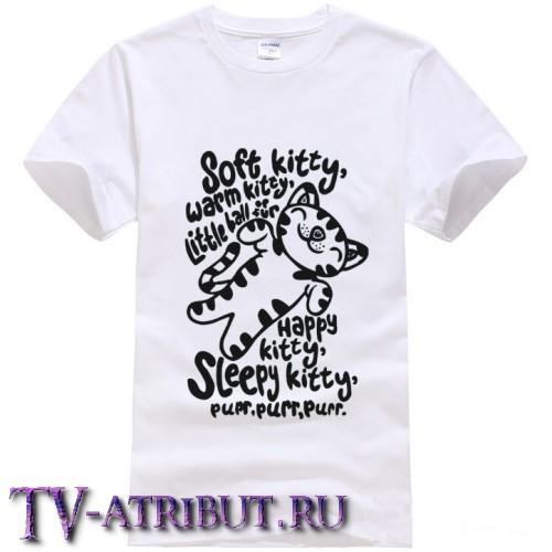 "Футболка с котенком из песенки ""Soft kitty"" (цвета - белый, серый)"