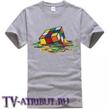 "Футболка Шелдона ""Тающий кубик рубика"" (цвета - белый, серый)"