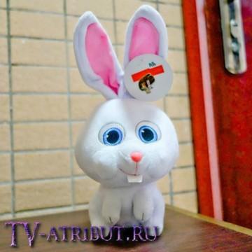 Мягкая игрушка кролик Снежок (27 см с ушами)
