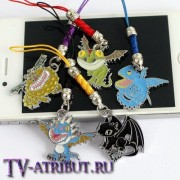 Комплект из 5 брелоков-драконов для телефона