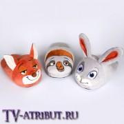 "Тапочки в виде героев ""Зверополиса"" (3 варианта)"