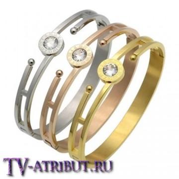 Браслет в стиле Cartier с крупным цирконом (3 цвета)