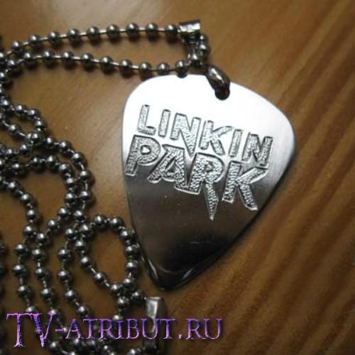 """Кулон в виде медиатора с надписью """"Linkin Park"""", ручная работа, сталь"""