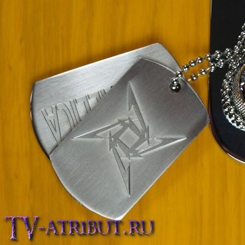 Кулон в виде двух жетонов, титановая сталь