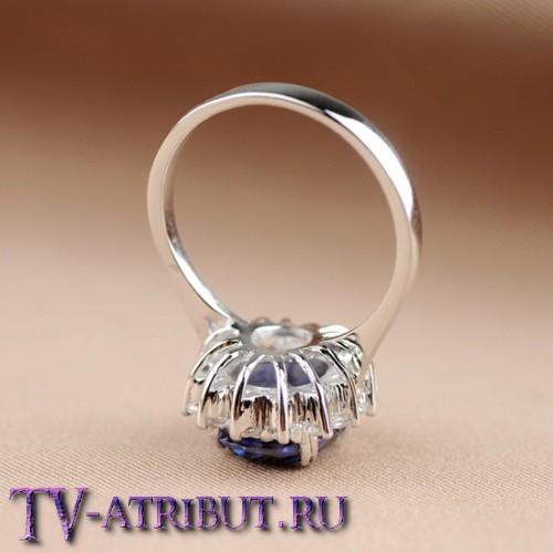 Кольцо Кейт Миддлтон, серебро S925, сапфир 3 карата