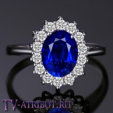 Кольцо Кейт Миддлтон, серебро S925, цирконы