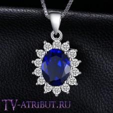 Кулон Кейт Миддлтон, серебро S925, цирконы