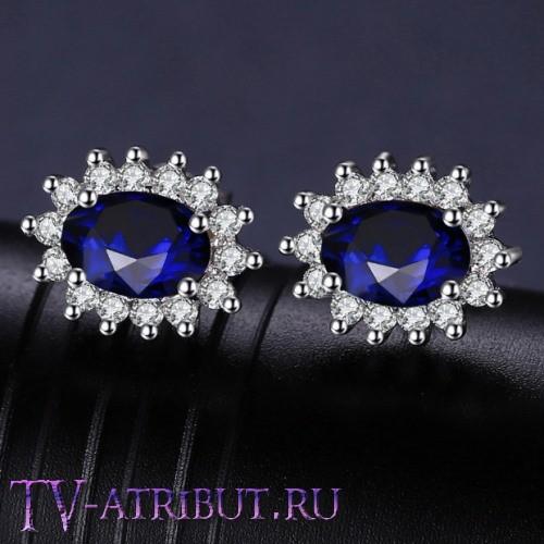 Серьги Кейт Миддлтон, серебро S925, цирконы