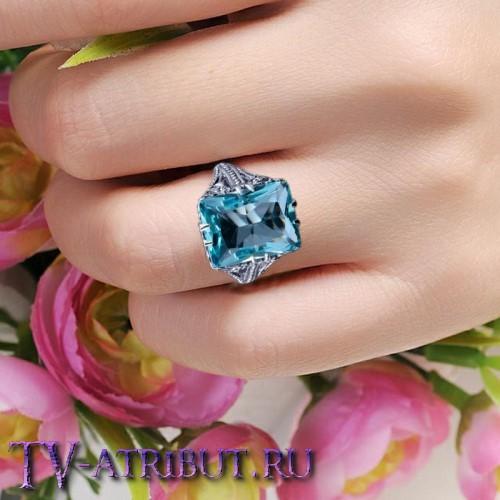 Кольцо Меган Маркл, серебро S925, аквамарин