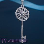 "Кулон ключ Tiffany ""Калейдоскоп"" с белым цирконом"