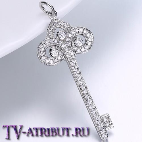 """Кулон ключ Tiffany """"Лилия"""", посеребренный"""