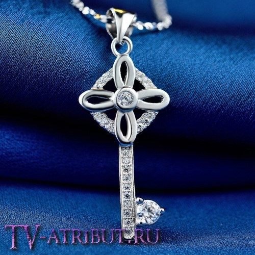 Кулон ключик Tiffany с цирконами, серебро S925