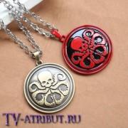 """Кулон с эмблемой организации """"Гидра"""" (цвета - красный, бронза)"""