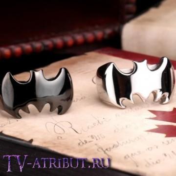 Кольцо со знаком Бэтмена, сталь (цвета - серебро, чёрный)