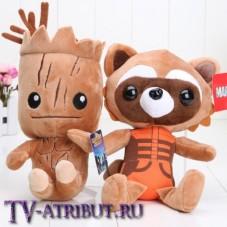 Комплект плюшевых игрушек Грут и енот Ракета (23 см)