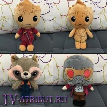Комплект из 4-х игрушек: Звёздный Лорд, Ракета и два Грута (по 20 см)