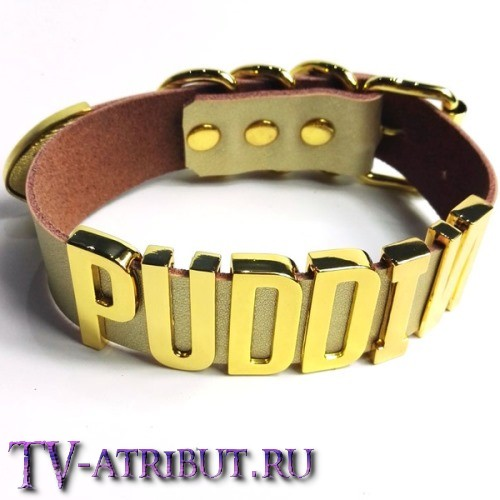 """Ошейник Харли Квинн """"Puddin"""" золотистого цвета"""