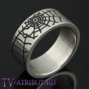 Кольцо Мэри Джейн с паутинкой, титановая сталь