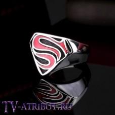Кольцо Супермена, сталь (цвета - красный, чёрный)