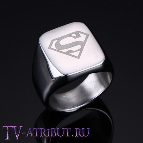 Перстень печатка Супермена, сталь (цвета - серебро, чёрный)