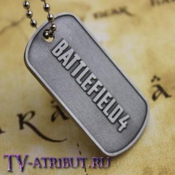 Кулон-жетон с надписью Battlefield 4, цвет серебро
