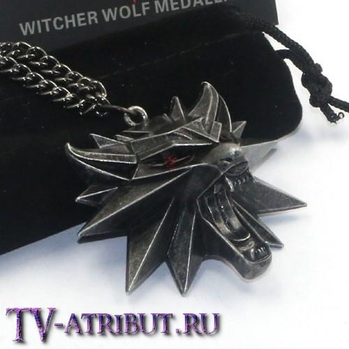 Кулон Ведьмака, официальный, с красными глазами и мешочком