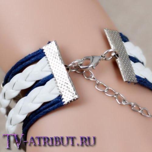 Браслет со знаком Даров Смерти, бело-синий