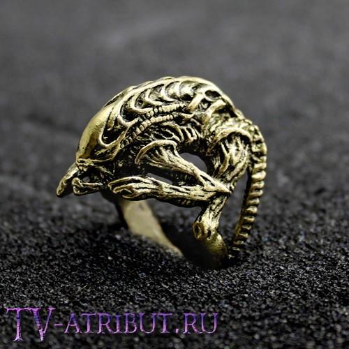 Кольцо в виде Чужого (цвета - бронза, серебро)