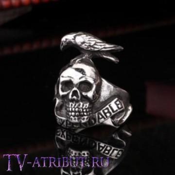 Кольцо в виде черепа и ворона, высококачественная сталь