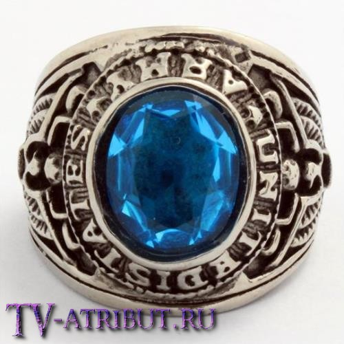 """Кольцо """"Армия США"""", сталь, голубой циркон"""