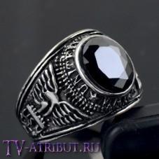 """Кольцо """"Армия США"""", сталь, черный циркон"""