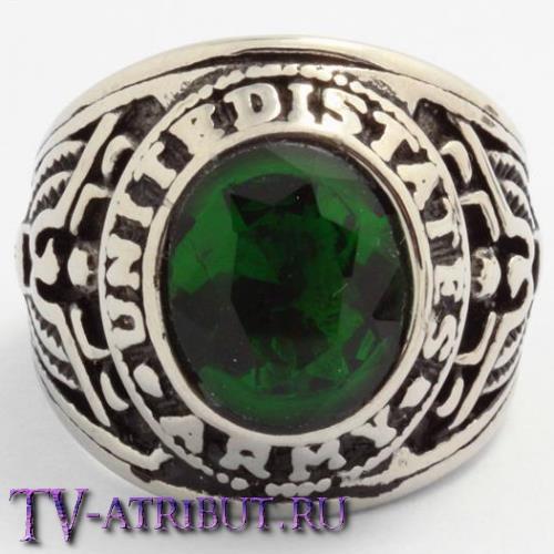 """Кольцо """"Армия США"""", сталь, зеленый циркон"""