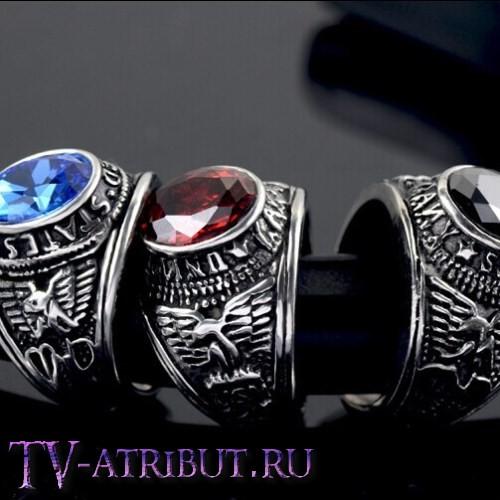 """Кольцо """"Армия США"""", сталь, синий циркон"""