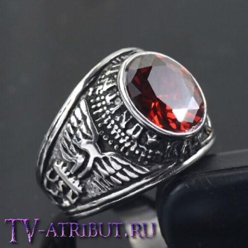 """Кольцо """"Армия США"""", сталь, красный циркон"""