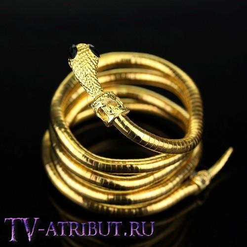 Браслет Изабель в виде змеи (цвета - золото, серебро, черный)