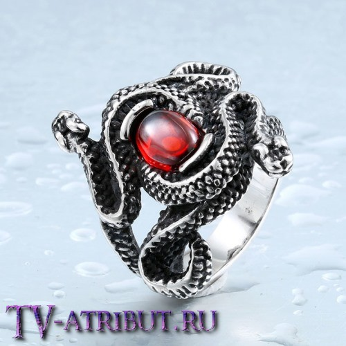 """Кольцо в виде змей из фильма """"Прирожденные убийцы"""", сталь"""