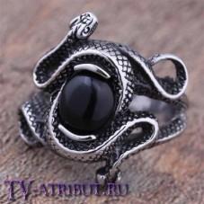 """Кольцо с чёрным камнем из фильма """"Прирожденные убийцы"""", сталь"""