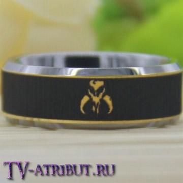 Кольцо Мандалориан, карбид вольфрама, позолота 18 карат