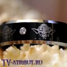 Кольцо с Йодой, карбид вольфрама, циркон