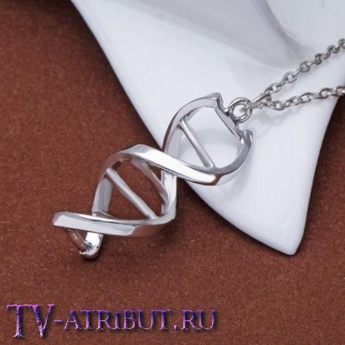 Кулон в виде цепочки ДНК, посеребренный