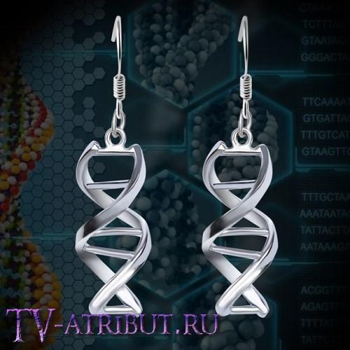 Серьги в виде цепочки ДНК, посеребренные