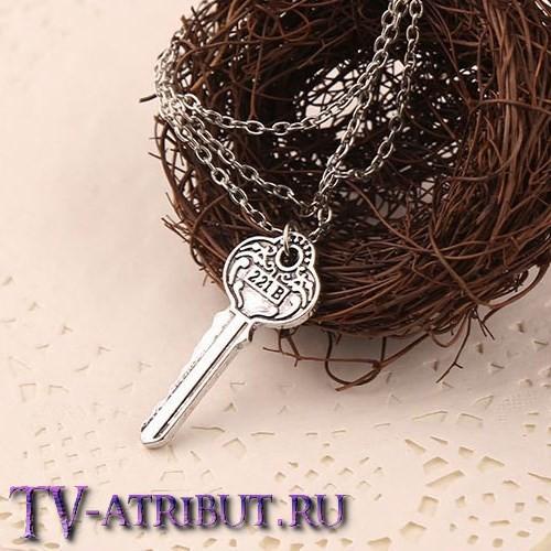 Кулон-ключ Шерлока с номером 221B, фигурный (2 цвета)