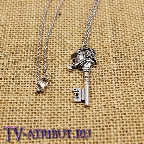 Кулон-ключ с головой Шерлока Холмса и надписью 221B