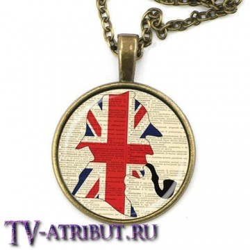 Кулон с профилем Шерлока Холмса и флагом Великобритании