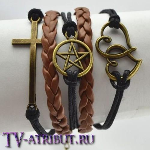 Браслет с пентаклем, крестом и сердцами