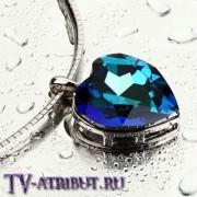 "Кулон ""Сердце океана"" с австрийским кристаллом"